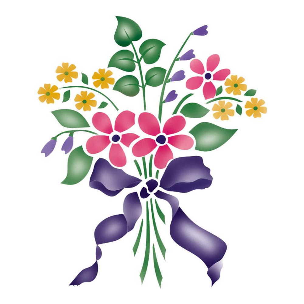 Small Flower Bouquet Craft Stencil