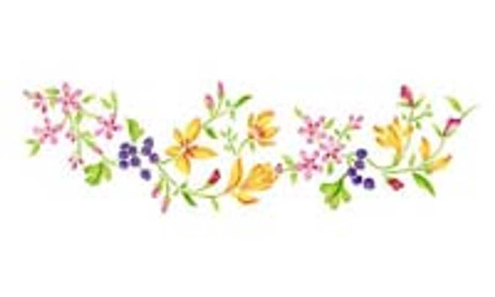 Blueberry and Floral Border Wall Stencil