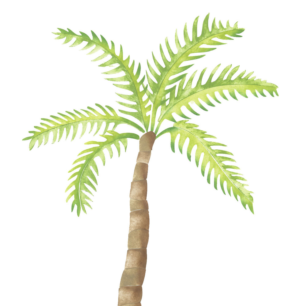Single Small Palm Tree Wall Stencil