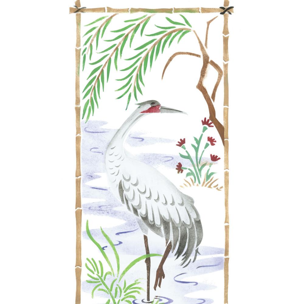 Small Oriental Bird  Screen Wall Stencil