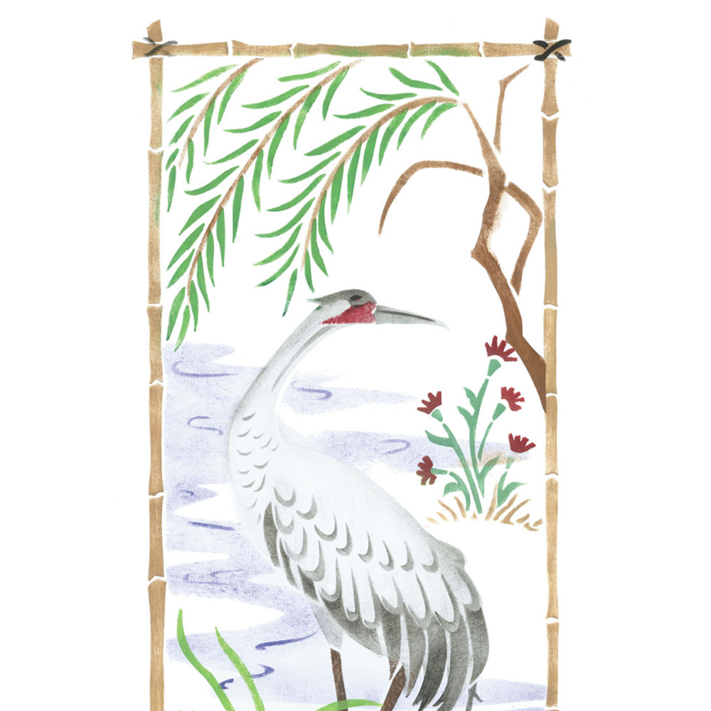 Large Oriental  Bird Screen Wall Stencil