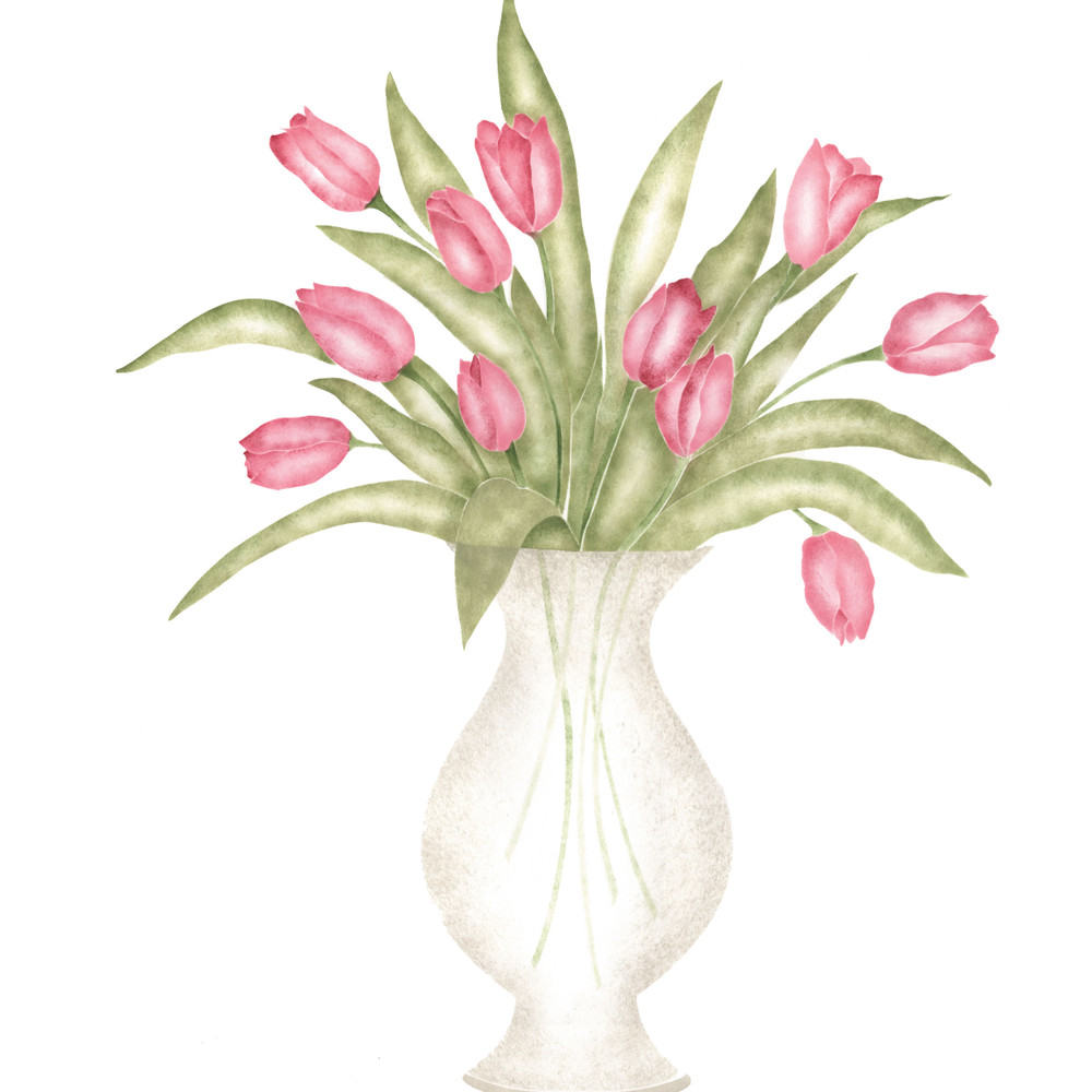 Vase of Tulips Wall Stencil