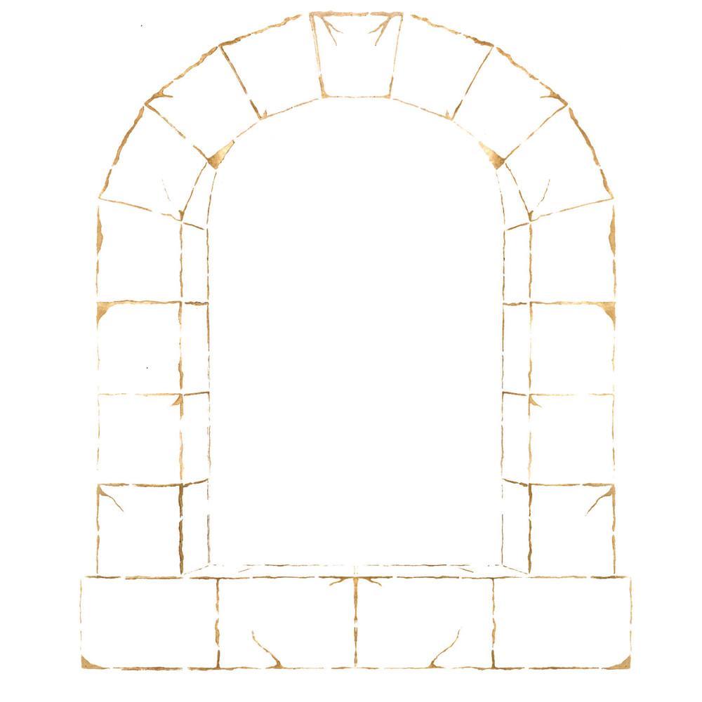 Stone Window Wall Stencil