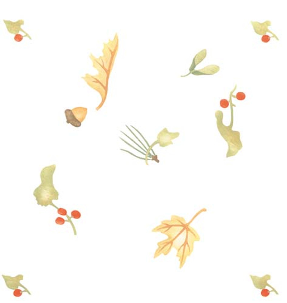 Autumn Leaf and Berry Wallpaper Stencil