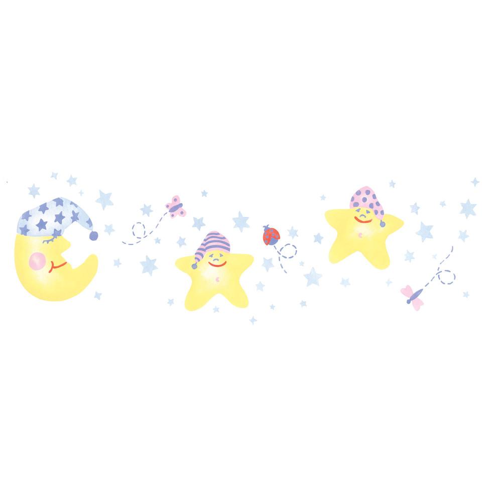 Baby Moon and Stars Wall Stencil Border