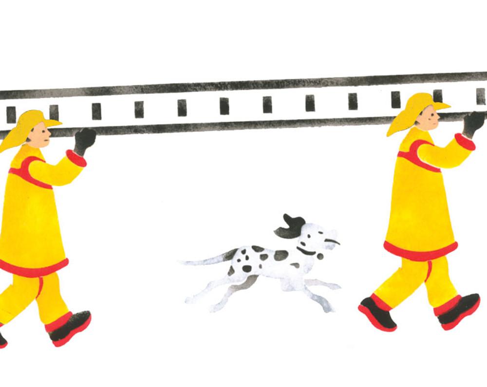 Firemen with Ladder Wall Stencil