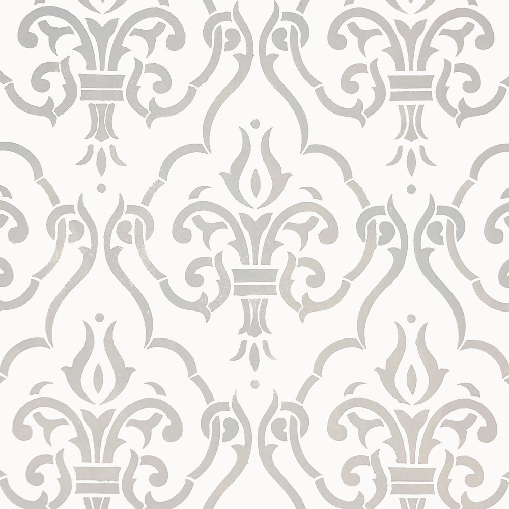 Diamond Damask All Over Wall Stencil  Zoomed In