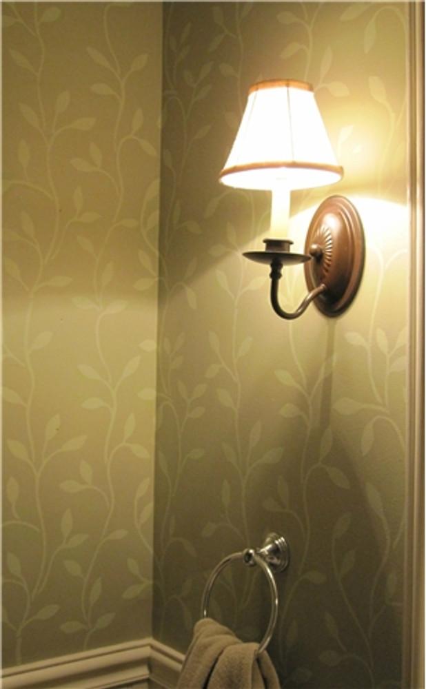 Climbing Vine Wall Stencil Bathroom Close Up