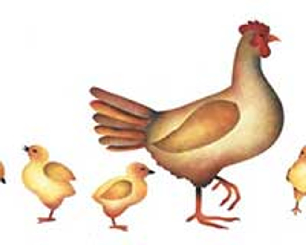 Chicks with Hen Wall Stencil