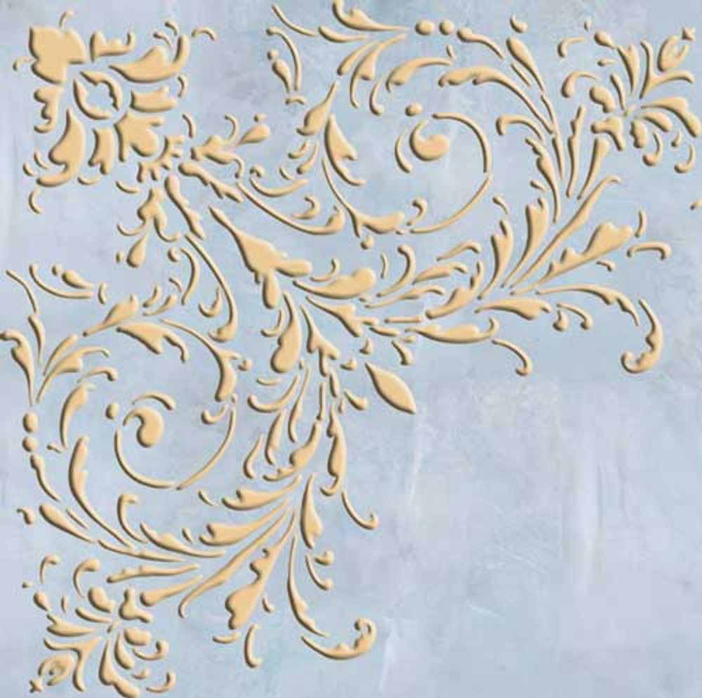 Small Feathered Corner Wall Stencil