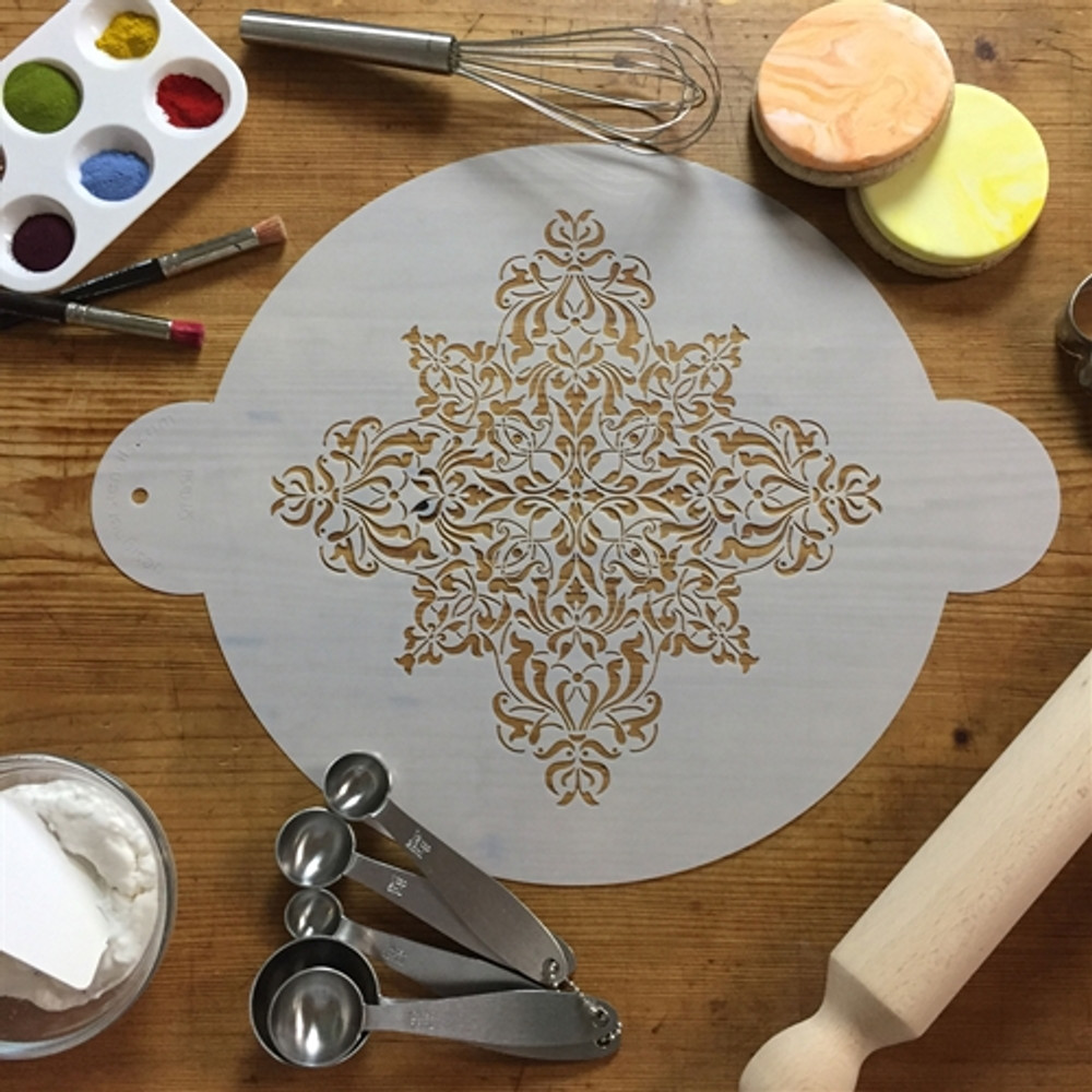 French Medallion Cake Stencil Top 9.5""