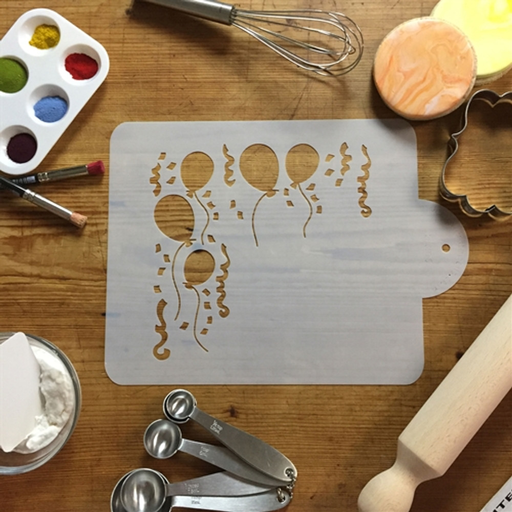 Balloons and Streamers Cake Stencil