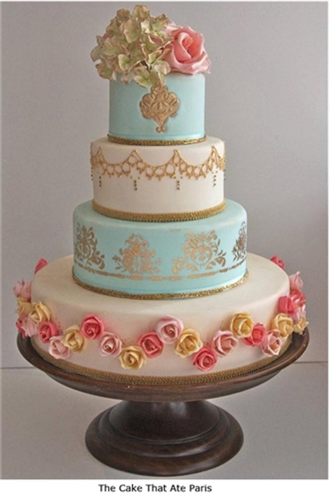 Damask Side  Cake Stencil Side