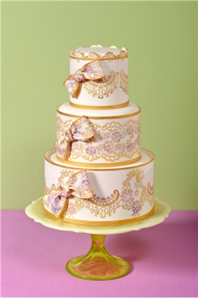 Alencon Lace Bottom Tier Cake Stencil