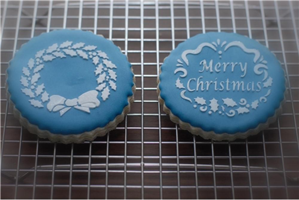 Holiday Christmas Greetings Cake Stencil