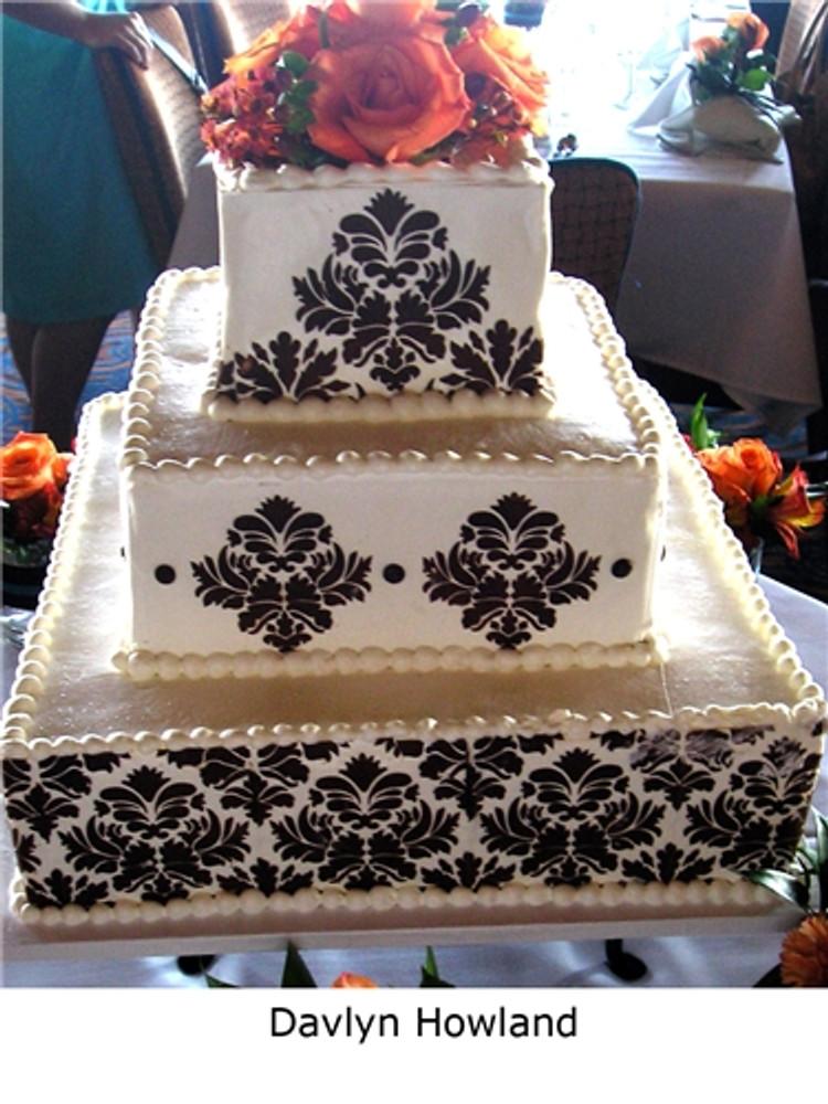 Damask Cake Stencil Tier #3