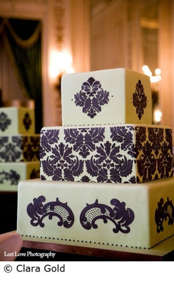 Damask Cake Stencil Tier #4