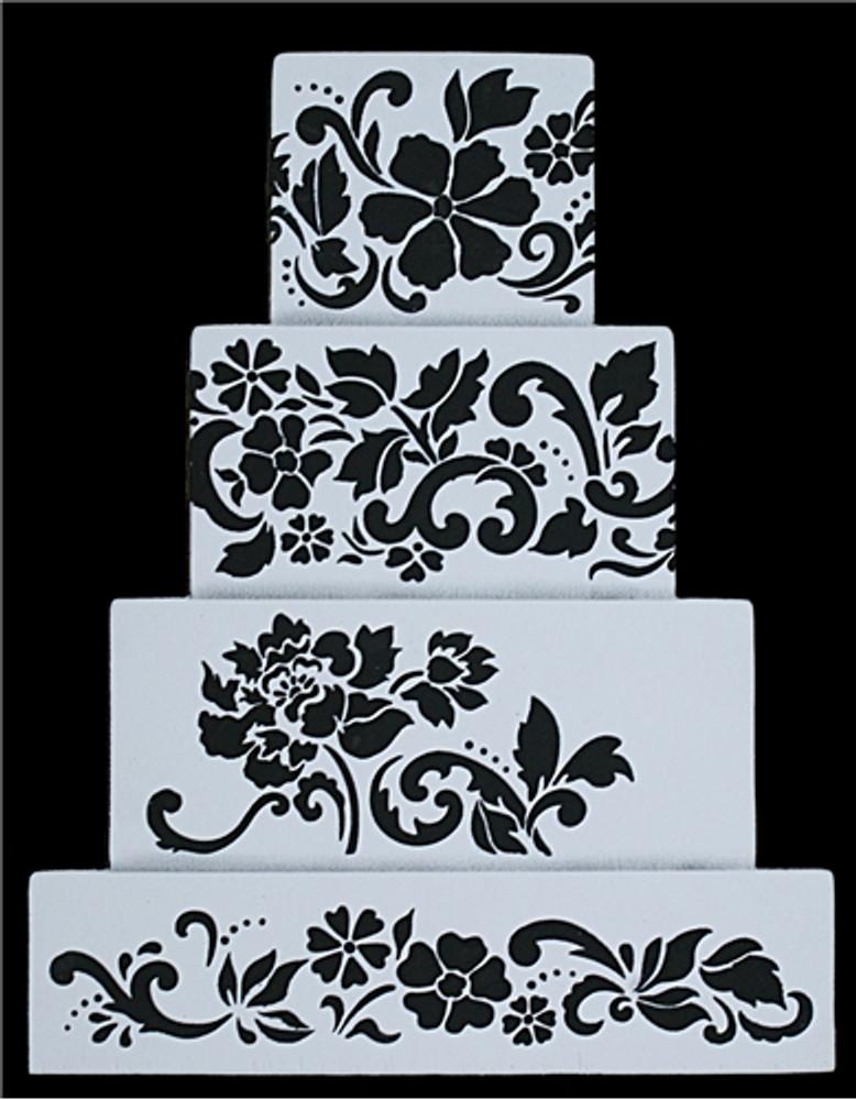 Floral Explosion Cake Stencil Tier #3