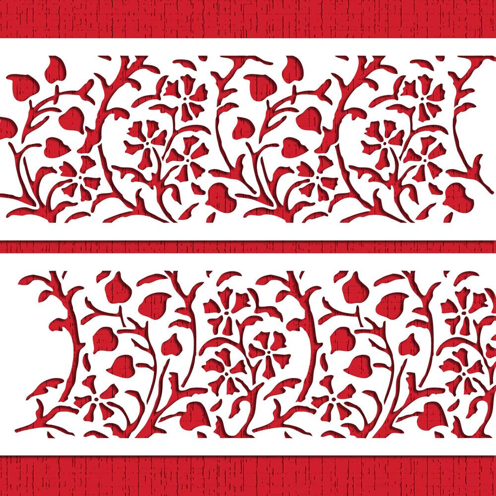Gilded Floral Cake Stencil Set