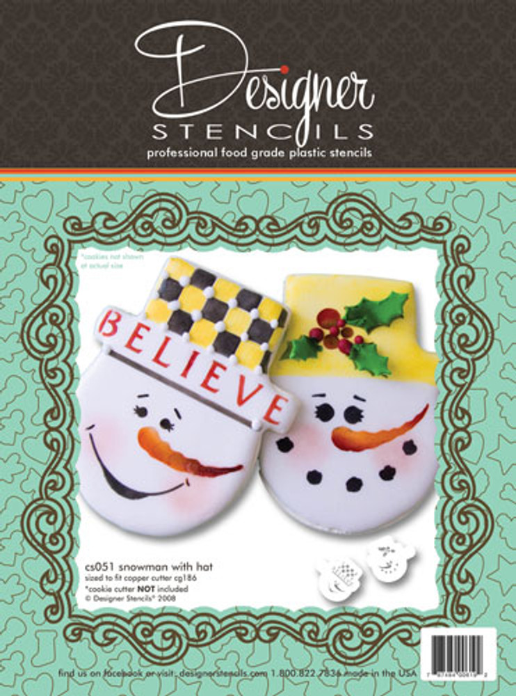 Snowman Face Cookie Stencil Set (no cutter)