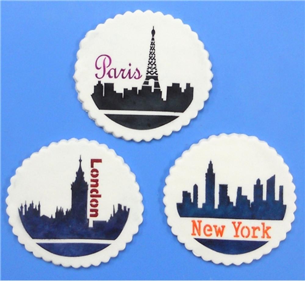 Paris, London, New York Skylines