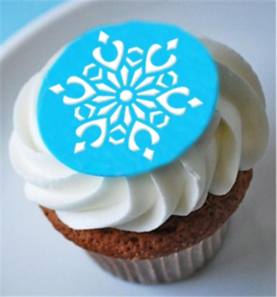 Mini Crystal Snowflakes #2 Cupcake Stencil
