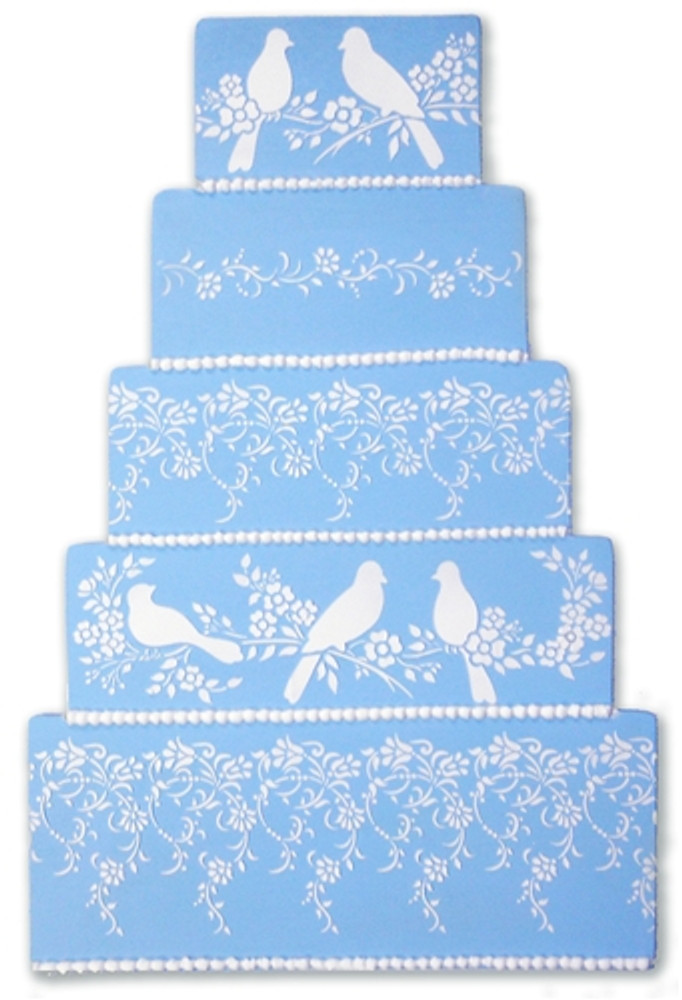 Small Vintage Lace Cake Stencil Side