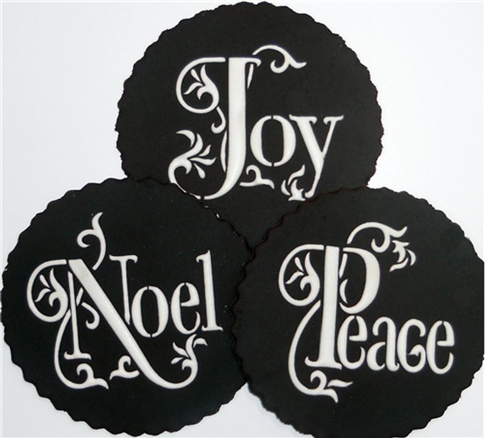 Joy, Noel and Peace Cookie Stencil Set