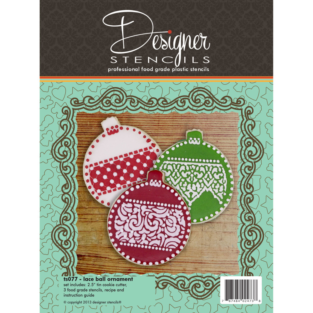 Lace Ball Ornament Cookie Cutter And Stencil Set