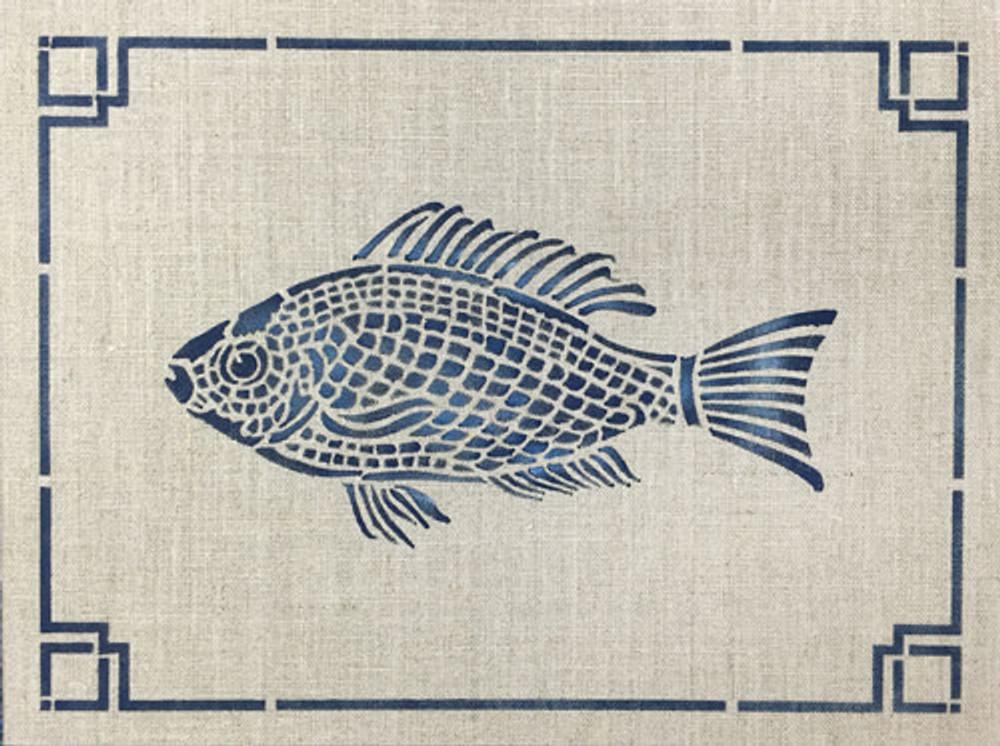 Fish Frame Wall Stencil