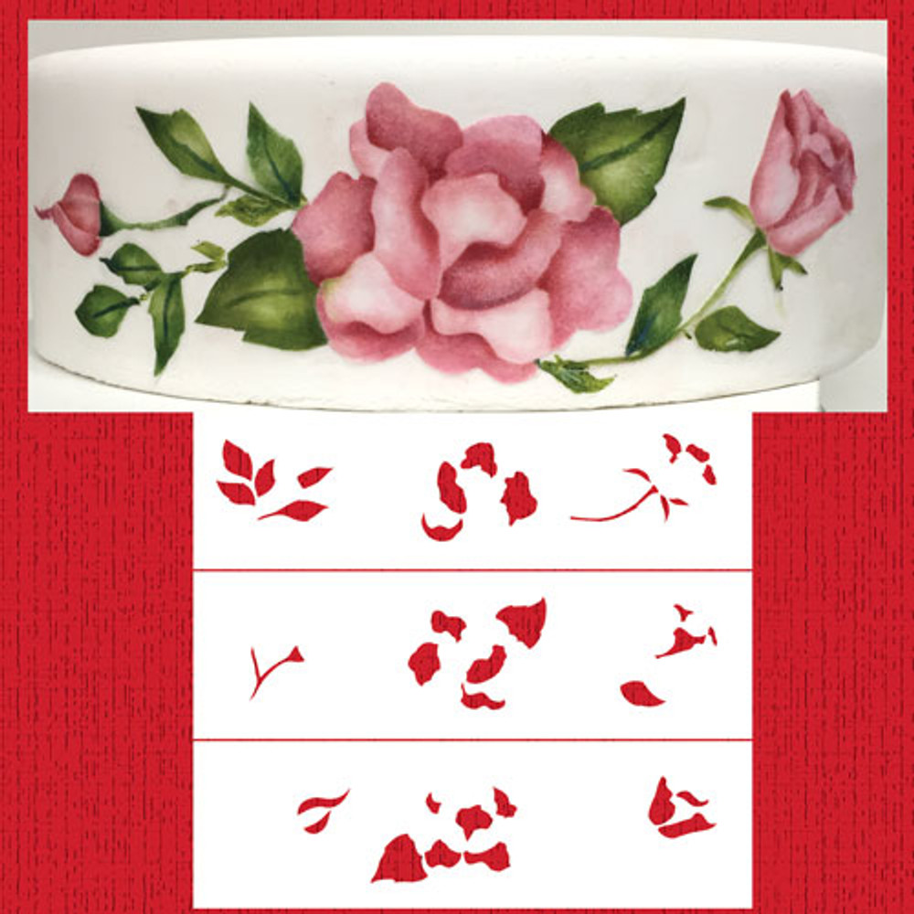 Multi-layer Painted Roses Cake Stencil