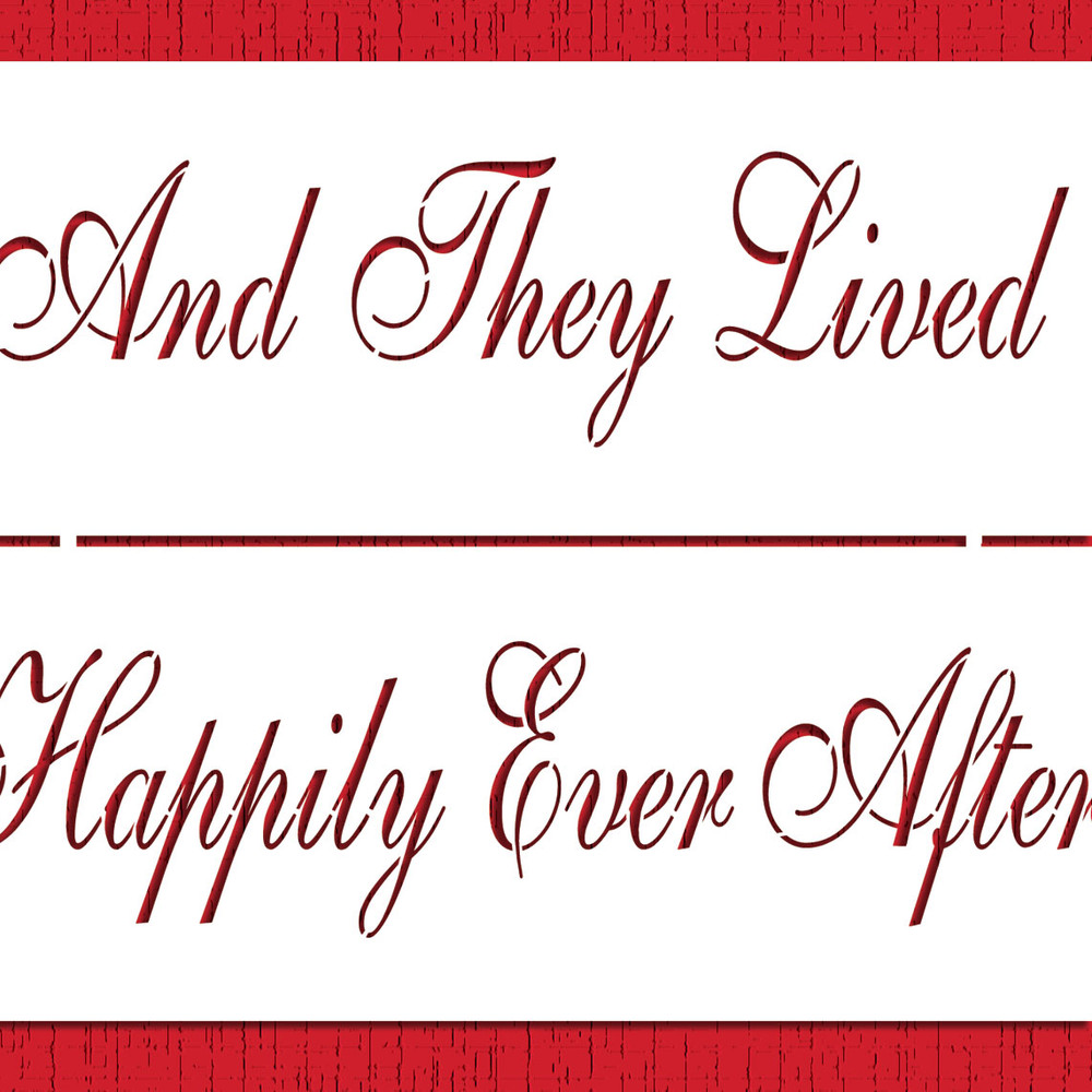 Happily Ever After Cake Stencil Side
