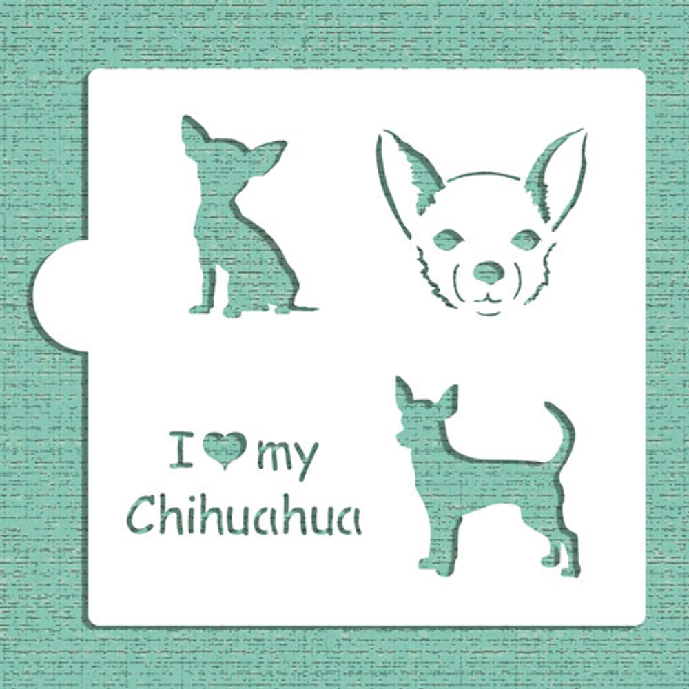 I Love My Chihuahua Cookie and Craft Stencil