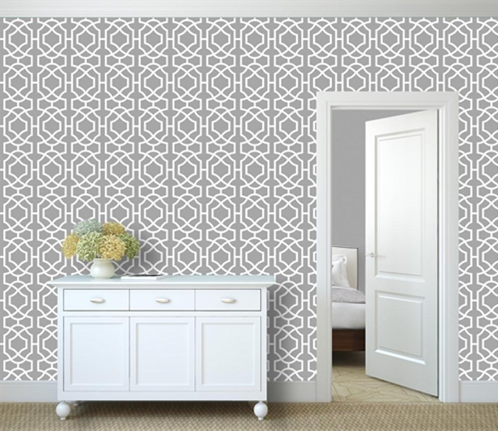 Contemporary Lattice All Over Wall Stencil in a Room