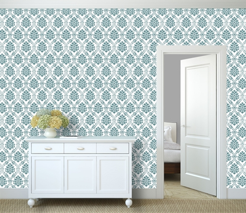 Small Royal Damask All Over Wall Stencil In Room