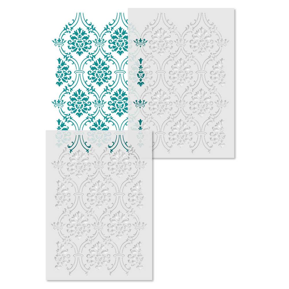 Small Royal Damask All Over Wall Stencil Repeat