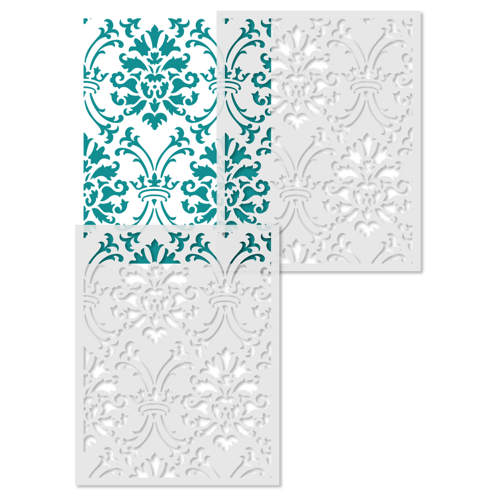 Large Royal Damask All Over Wall Stencil Repeat