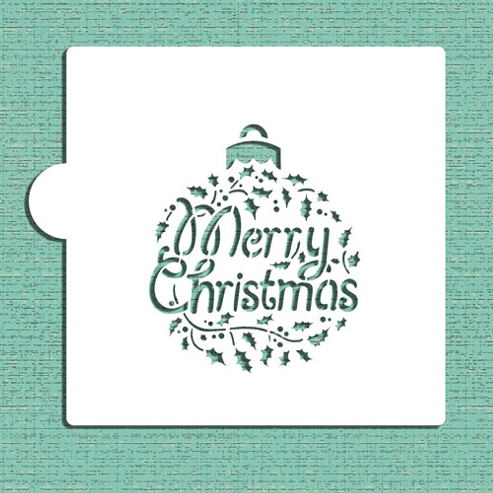 Merry Christmas Holly Ornament Cookie and Craft Stencil