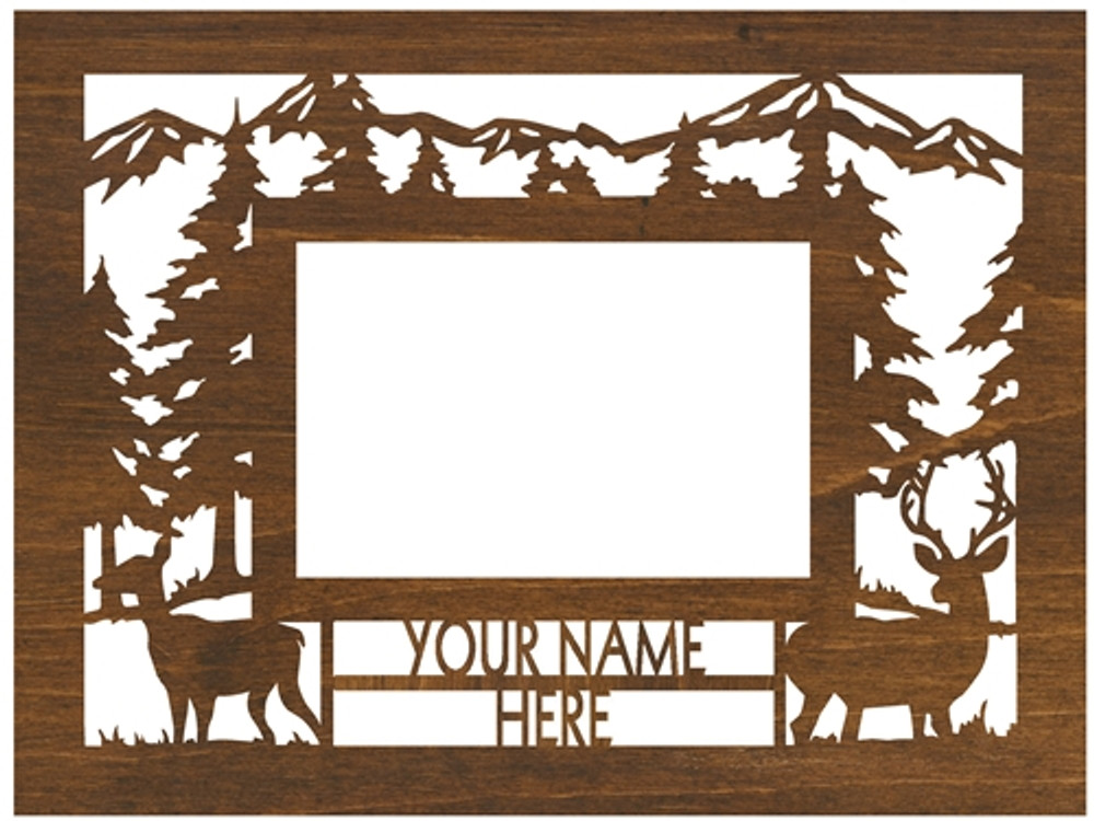"""Personalized 9"""" x 12"""" Whitetail/Mule Deer Scenic Wood Picture Frame (4"""" x 6"""" Photo)"""