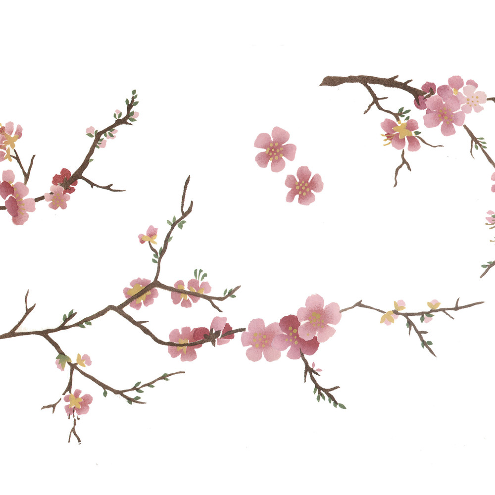 Oriental Blossoms Wall Stencil by DeeSigns