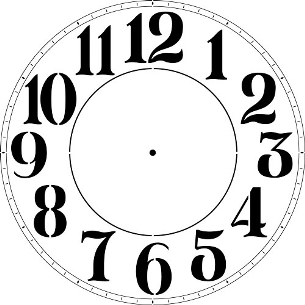 "Thin Roman Numeral 12-46"" Clockface Wall Stencil(choice of sizes)"