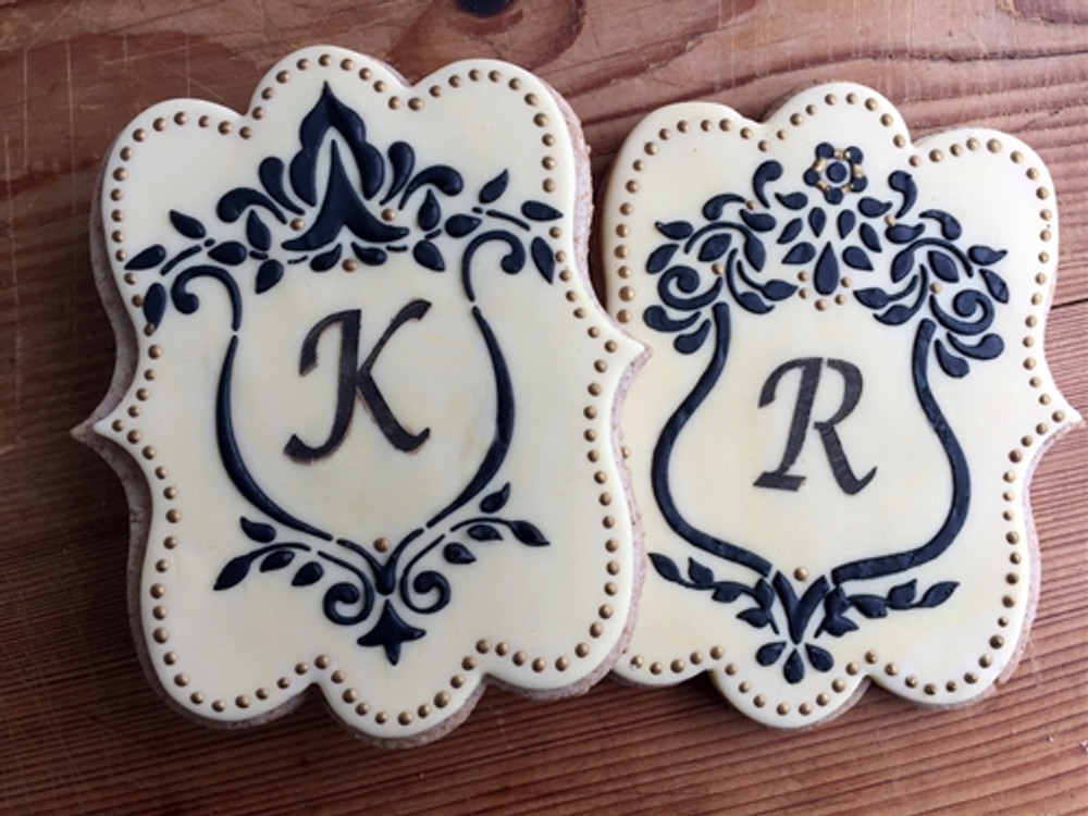 Two Monogram Shields Cake and Cookie Stencil Set