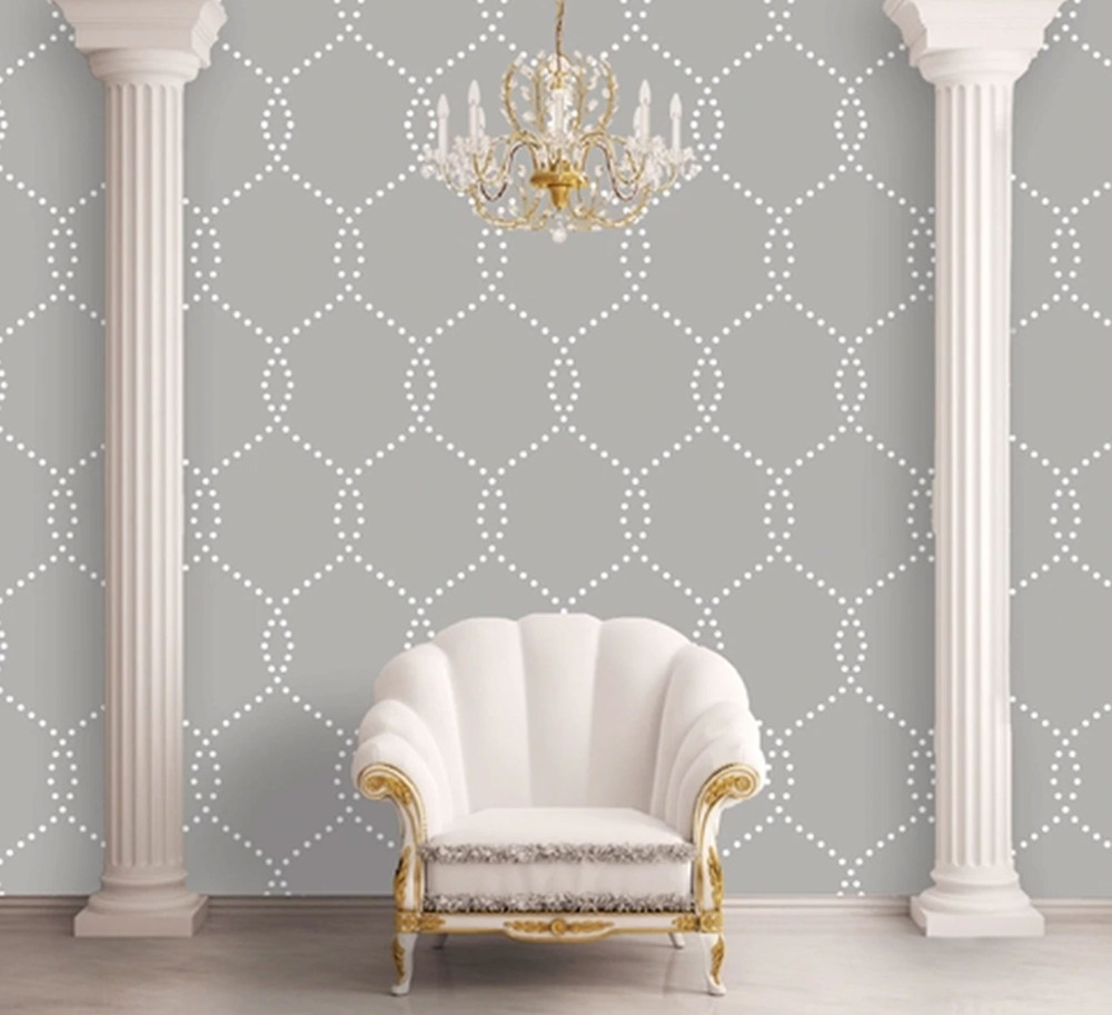 Modern Chain Link All Over Wall Stencil In Room
