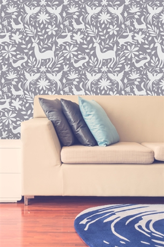 Otomi Animals All Over Wall Stencil In Room