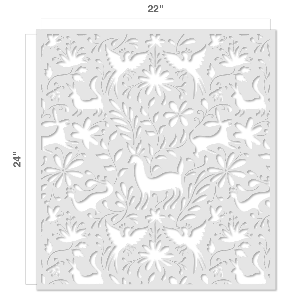 Otomi Animals All Over Wall Stencil Size
