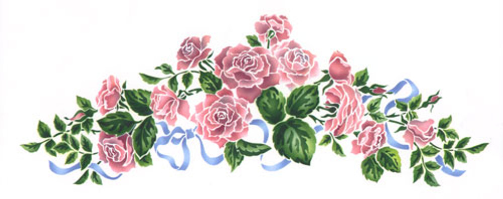 Rose Spray Wall Stencil by The Mad Stencilist