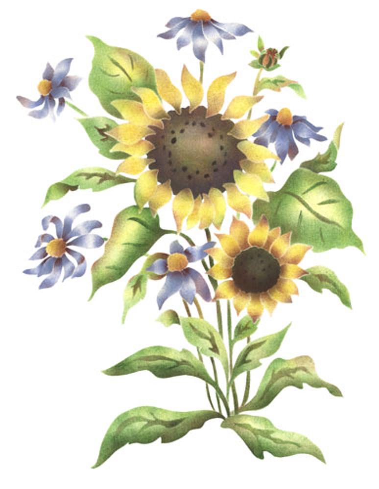 Sunflower Mix Wall Stencil by The Mad Stencilist