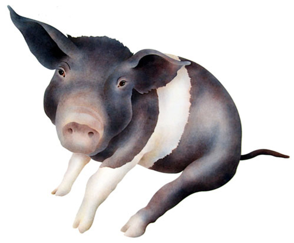 Sitting Pig Wall Stencil by The Mad Stencilist