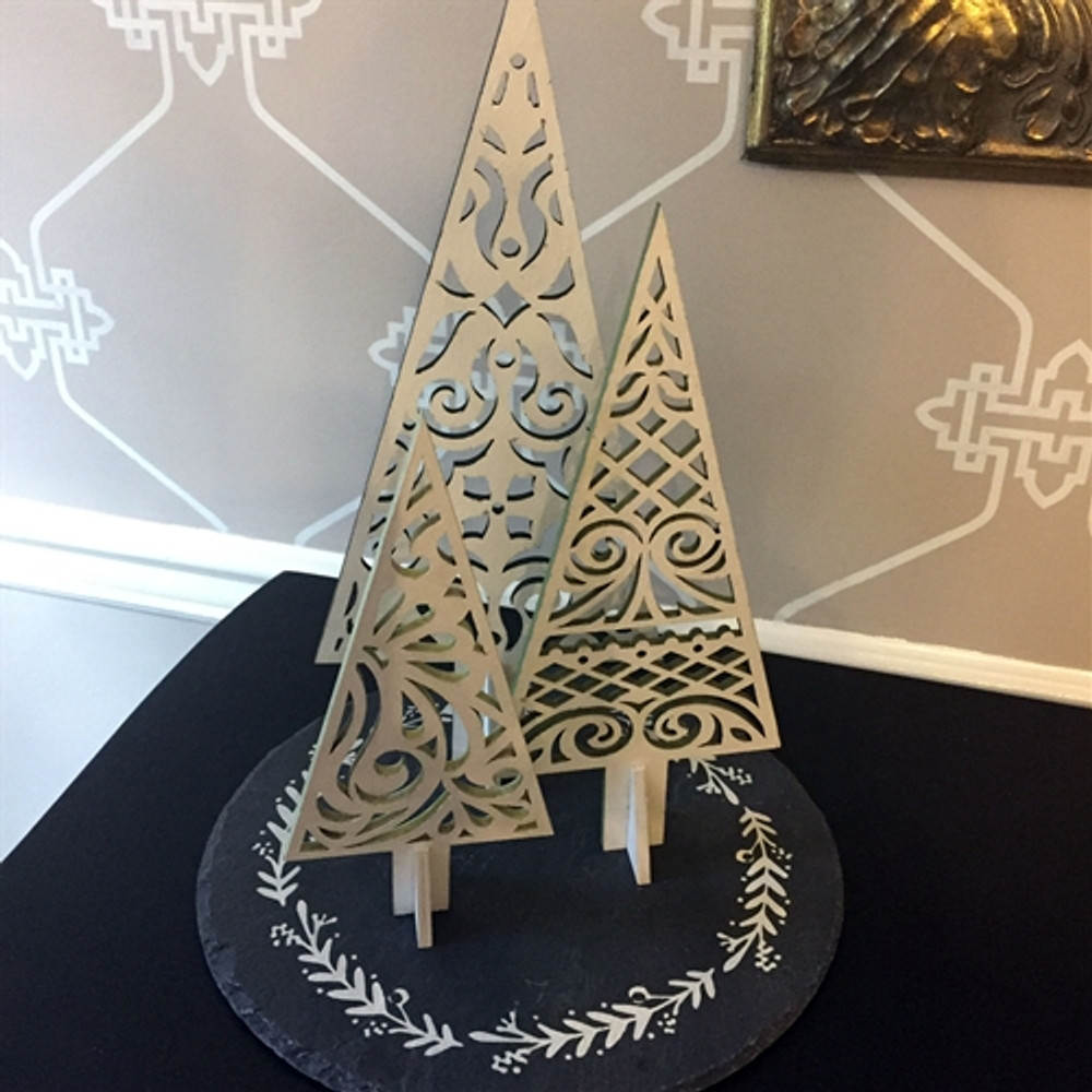 Holiday Wooden Trees -Set of Three