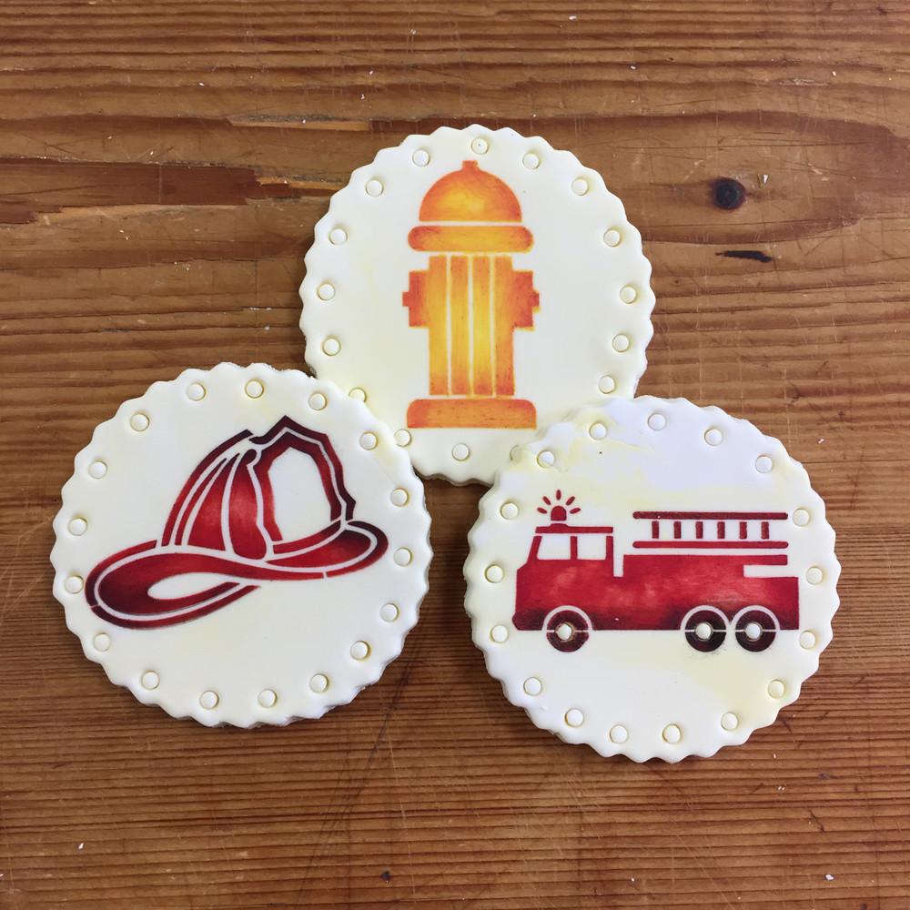 Firemen Cookie Stencil Set
